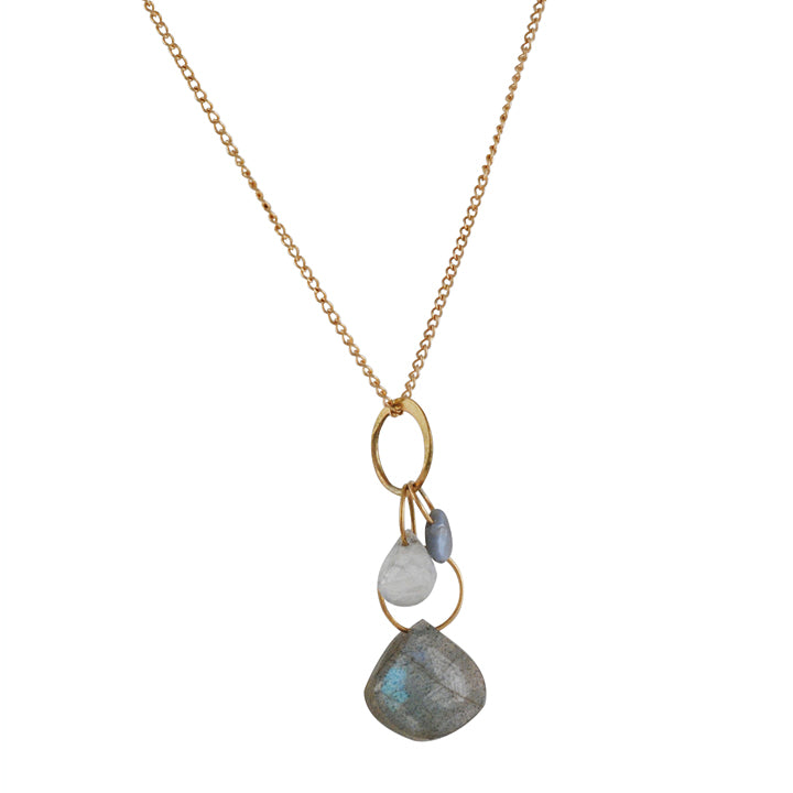 MELISSA JOY MANNING - Small 3 Stone Necklace in Labradorite and Alexandrite