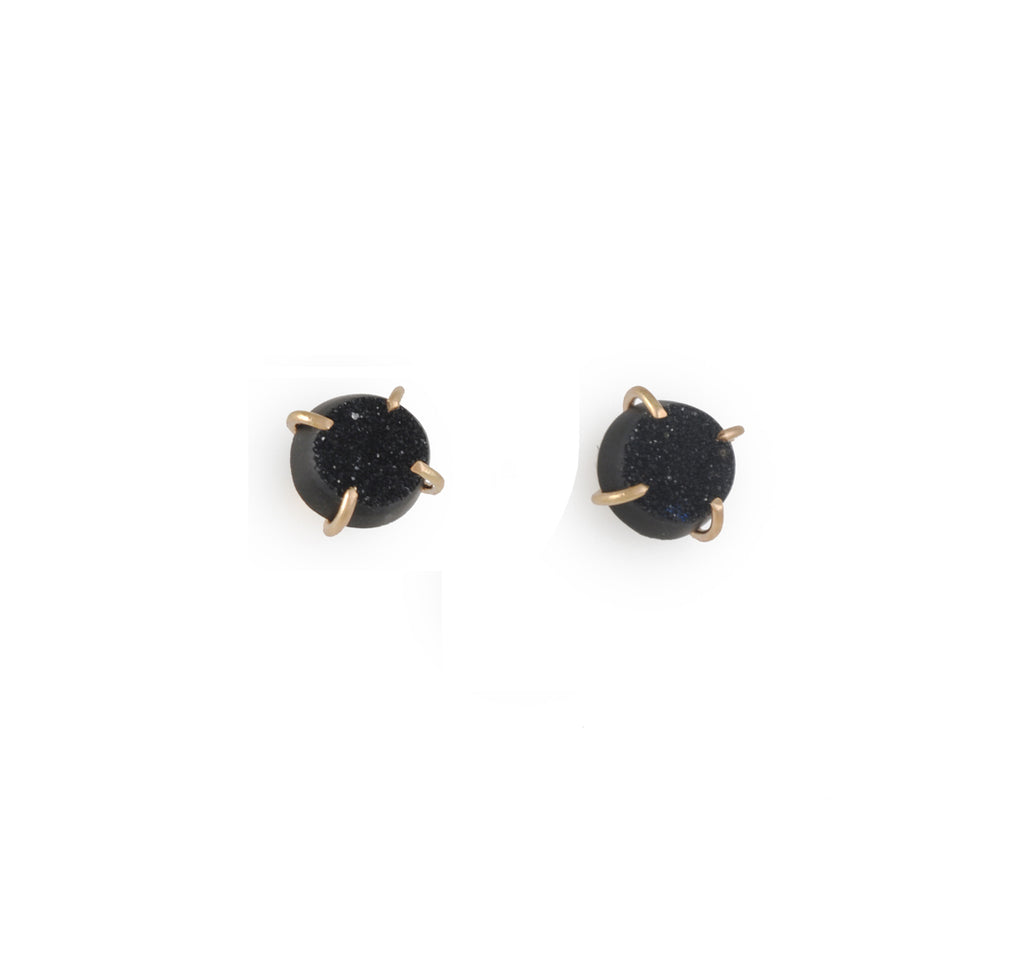 MELISSA JOY MANNING - Small Black Druzy Post Earrings in 14K Gold