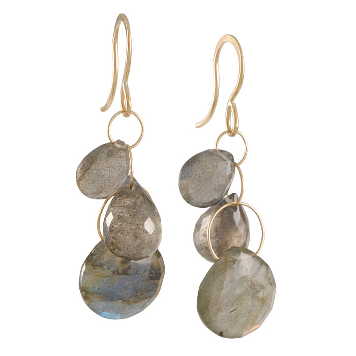 MELISSA JOY MANNING - Three Large Labradorite Drop Earrings