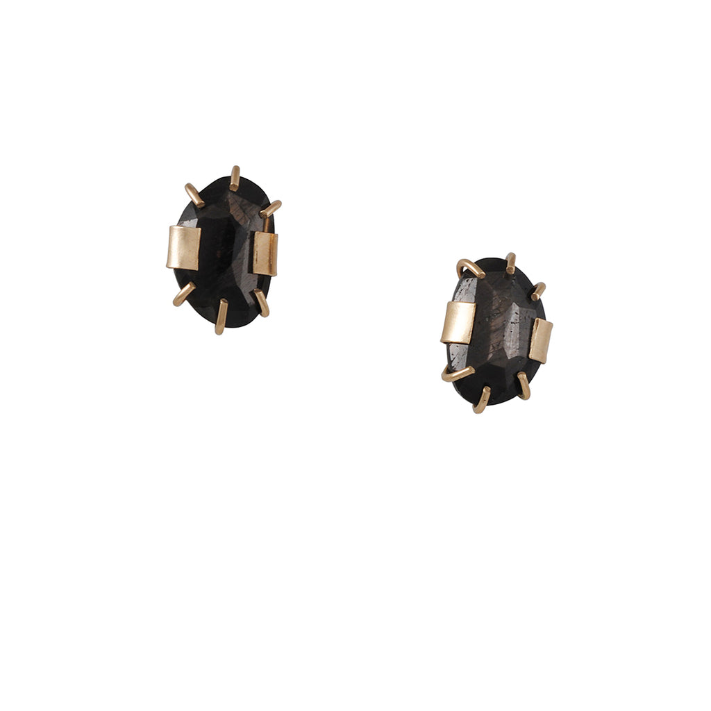 Melissa Joy Manning - Wrap Post Earrings with Brown Sapphire