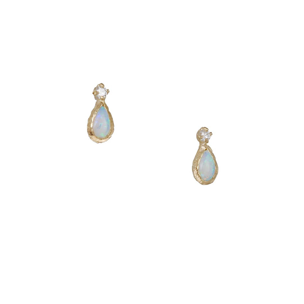 MISA - Guilding Light Stud Earrings in Opal and Diamond
