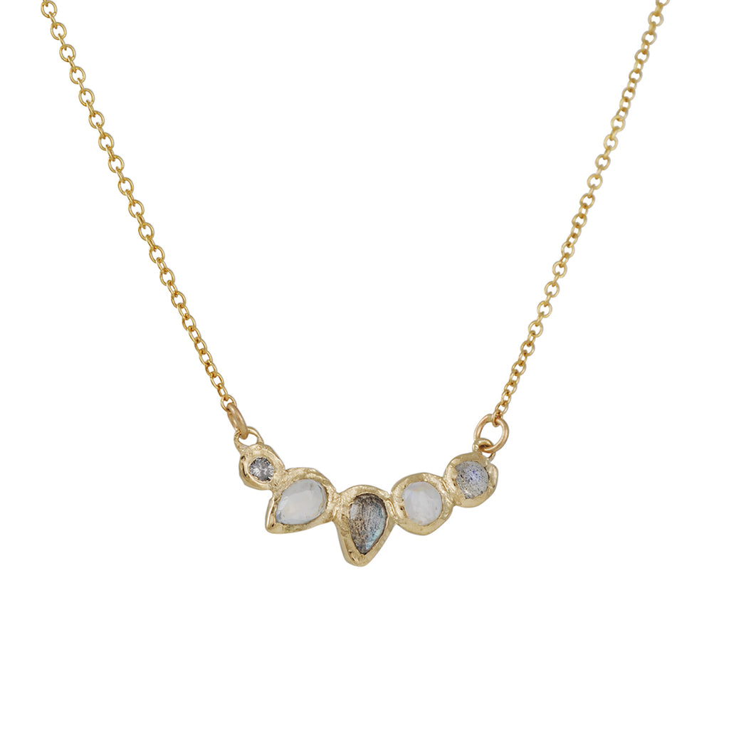 MISA JEWELRY - Labradorite and Moonstone Water Lily Necklace