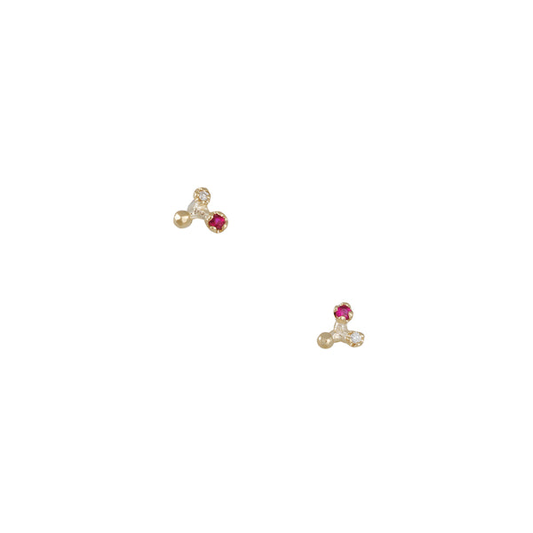 N+A New York - Diamond and Ruby Tri Split Studs