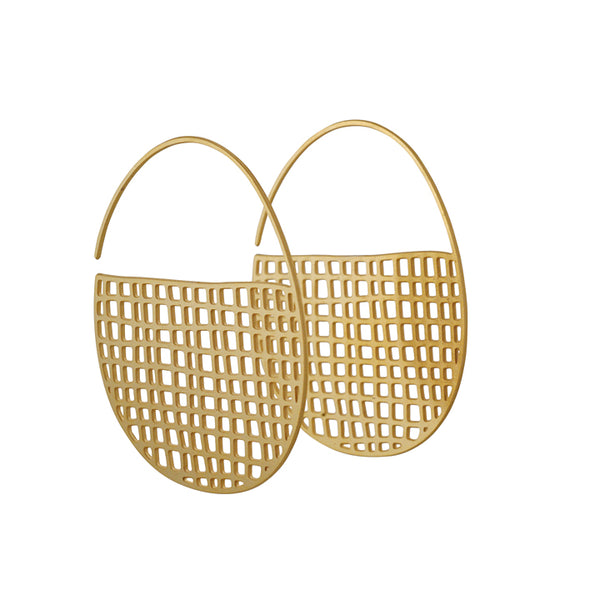DAPHNE OLIVE - Tiny Basket Hoop Earrings, 18K Gold Plated Stainless Steel