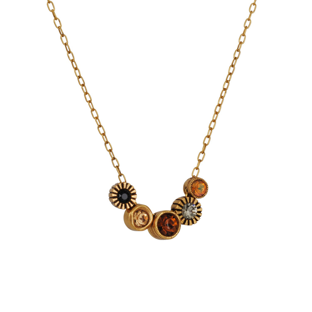 PATRICIA LOCKE - Pennies From Heaven Necklace, Gold Plated With Champagne Swarovsky Crystals