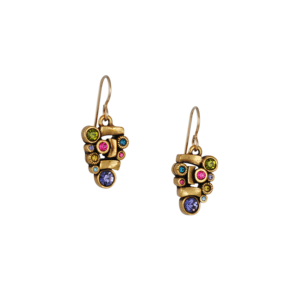 "PATRICIA LOCKE - Anasazi Drop Earrings with ""Fling"" Crystals, Gold Plated"