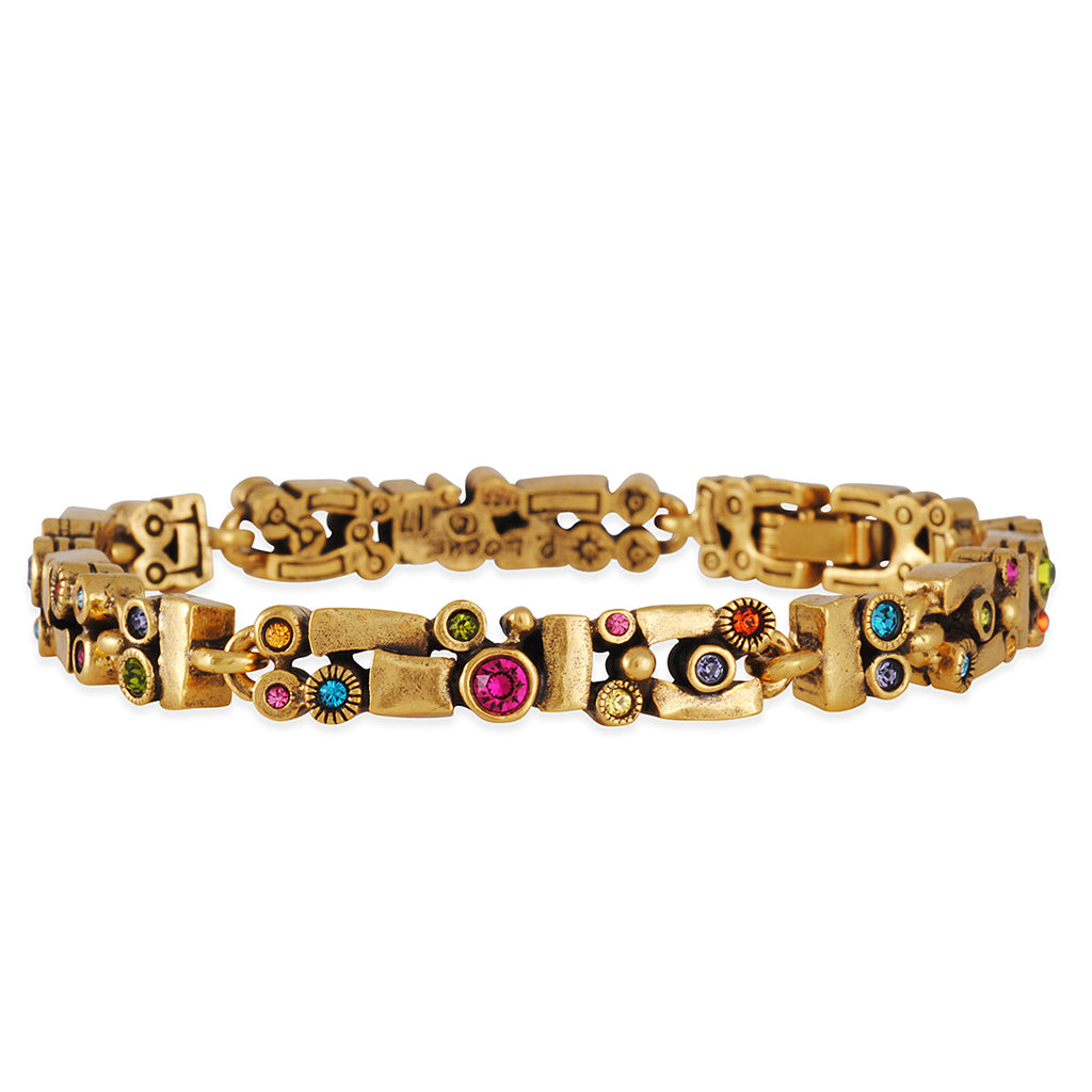 "PATRICIA LOCKE - Bandelier Bracelet with ""Fling"" Crystals, Gold Plated"