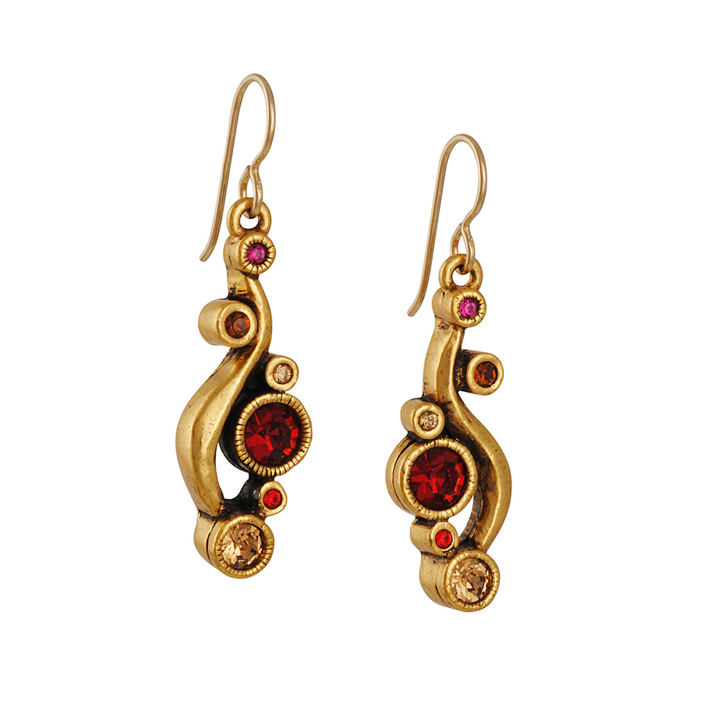 PATRICIA LOCKE - Galateia Earrings, Gold plated with Tapestry Crystals