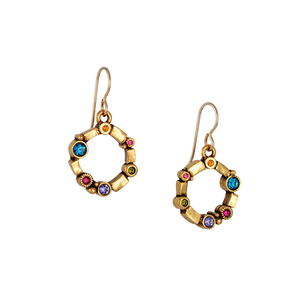 "PATRICIA LOCKE - Kiva Drop Earrings with ""Fling"" Crystals, Gold Plated"