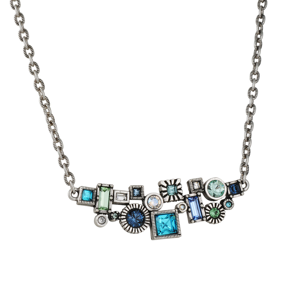 PATRICIA LOCKE - Madison Avenue Necklace, Silver Plated With Zephyr Crystals