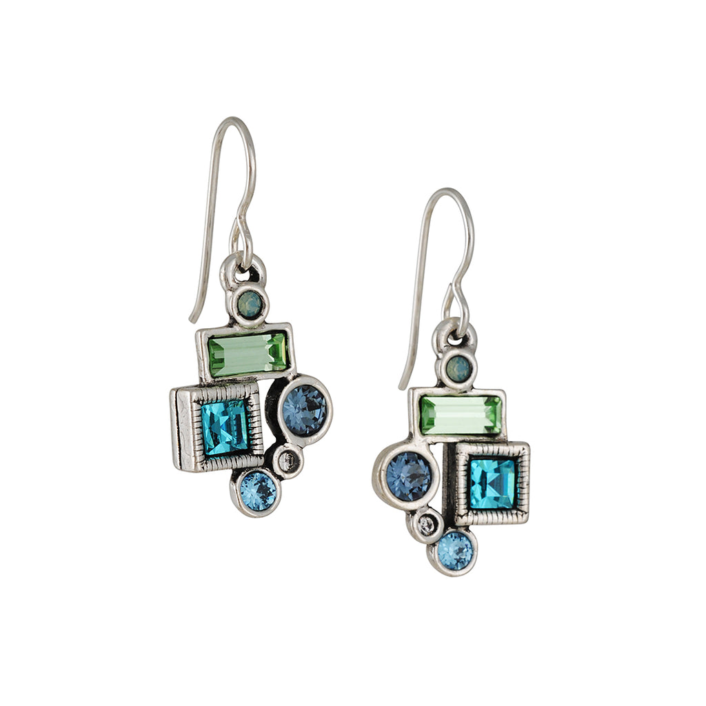 PATRICIA LOCKE - Park Avenue Drop Earrings, Silver Plated With Zephyr Crystals