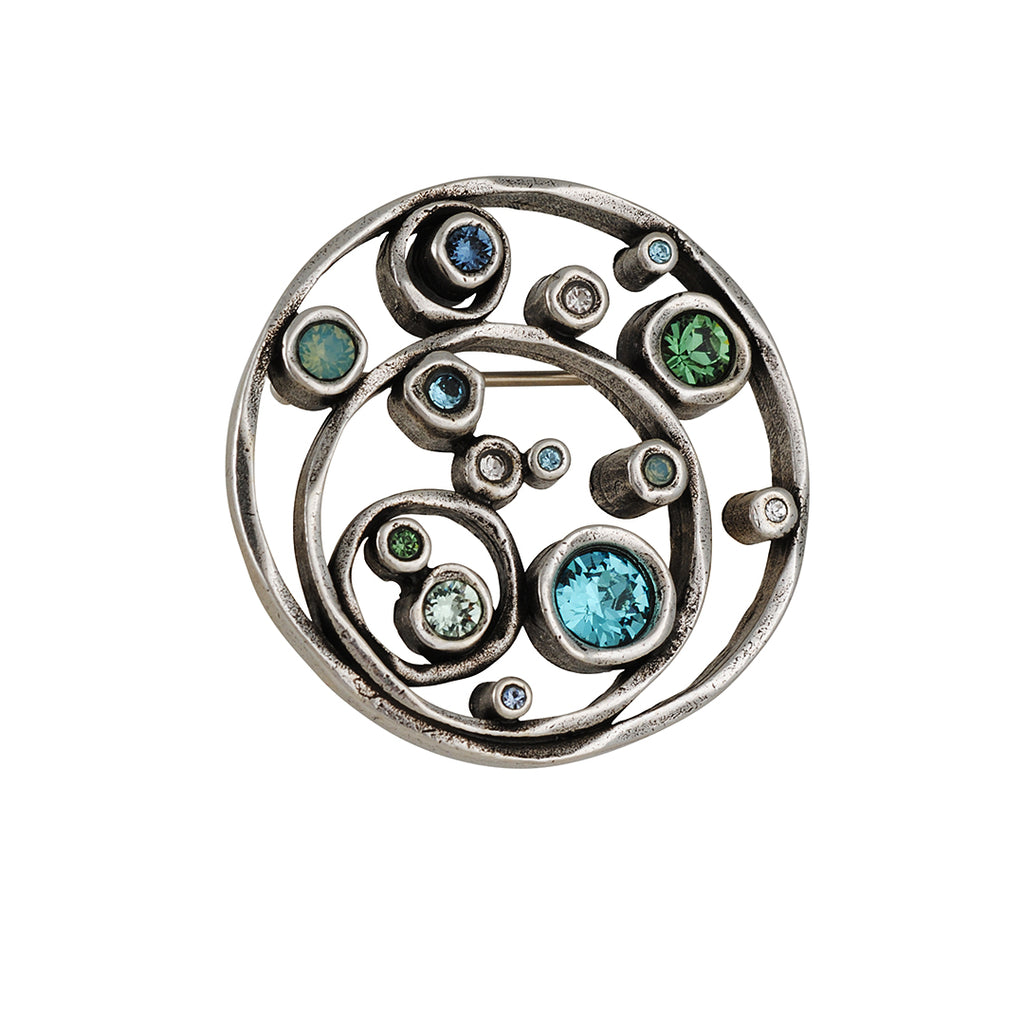 PATRICIA LOCKE - Tilt-A-Whirl Pin, Silver Plated With Zephyr Crystals