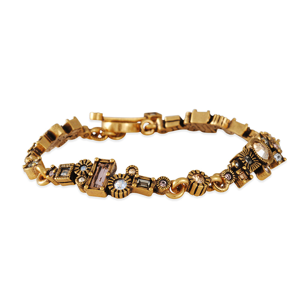 PATRICIA LOCKE - Wall Street Bracelet, Gold Plated With Champagne Crystals