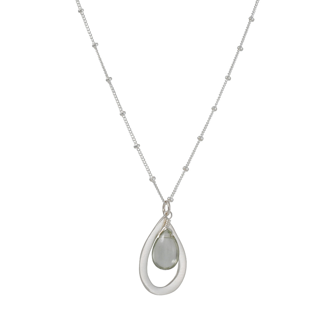 PHILIPPA ROBERTS - Open Drop with Green Amethyst Pendant Sterling Silver Neckace, 16-18""