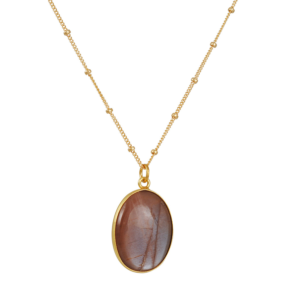 PHILIPPA ROBERTS - Chocolate Moonstone Pendant Necklace in Gold Vermeil