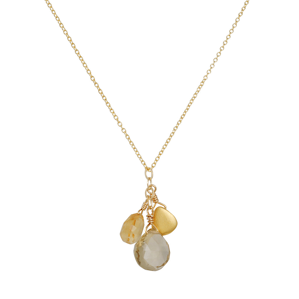 PHILIPPA ROBERTS - Citrine Cluster Necklace with Gold Vermeil Drop