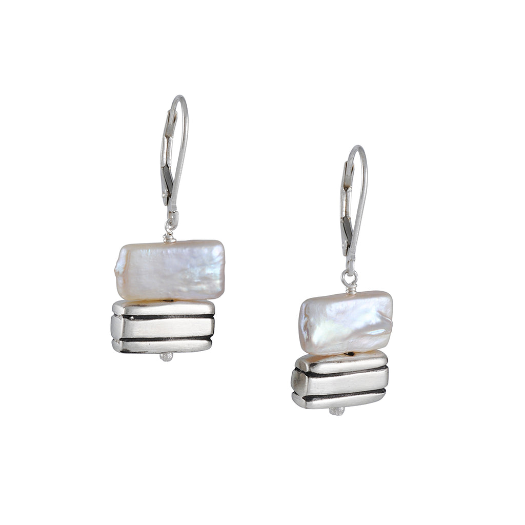 PHILIPPA ROBERTS - Cultured Pearls and Striped Rectangles Drop Earrings in Sterling Silver