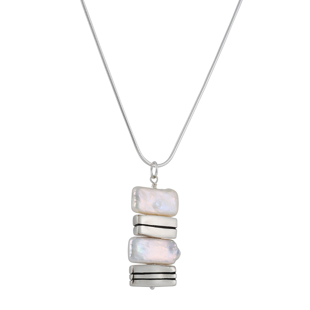 PHILIPPA ROBERTS - Cultured Pearls and Striped Rectangles Pendant Necklace in Sterling Silver, 18""