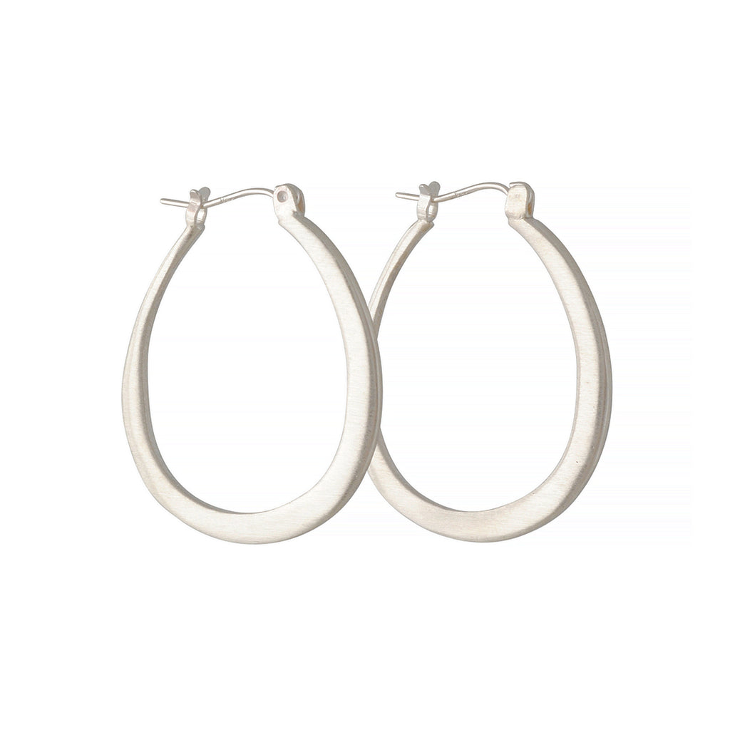 PHILIPPA ROBERTS - Medium Oval Hoops in Brushed Sterling Silver