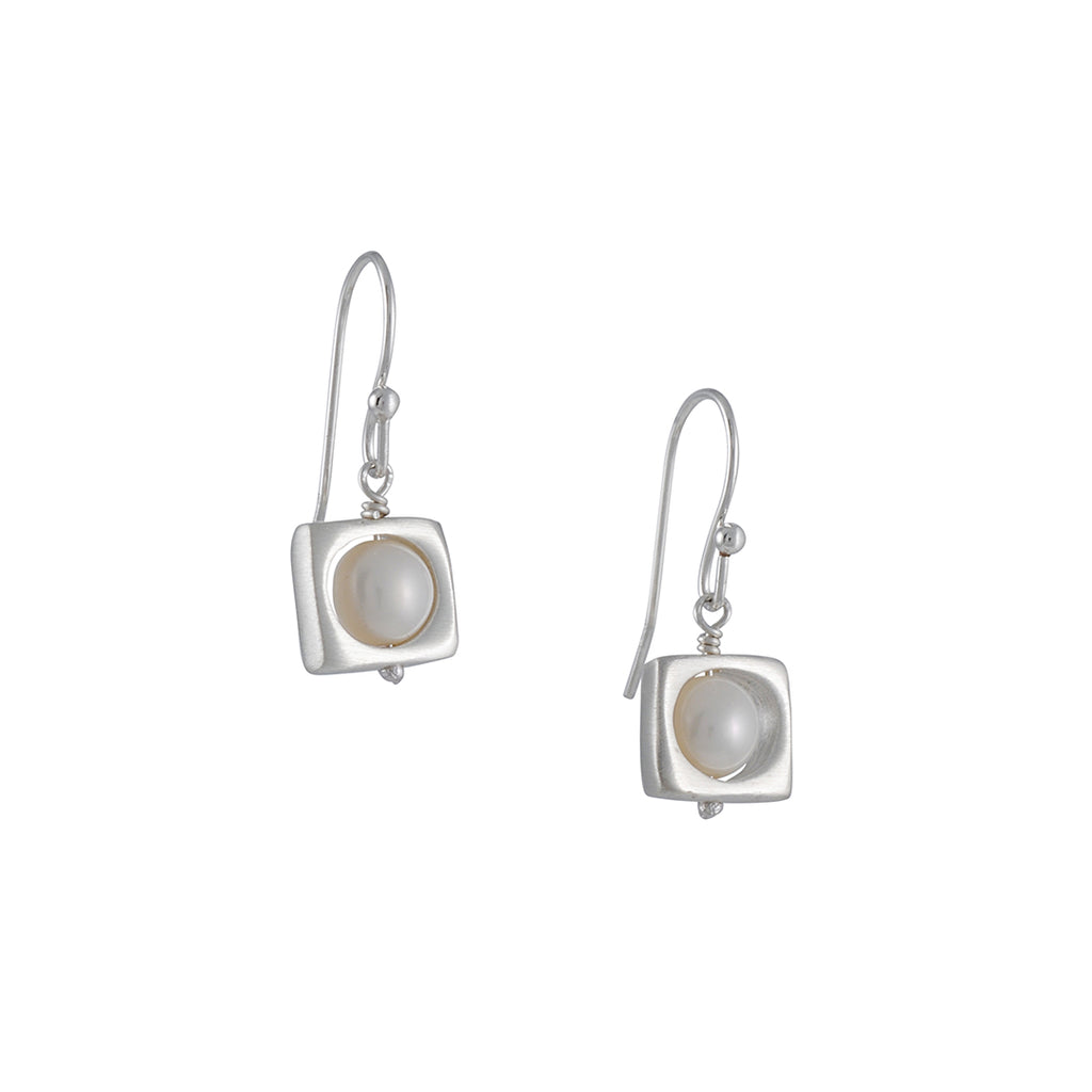Philippa Roberts - Open Square with Cultured Pearl Drop Earrings