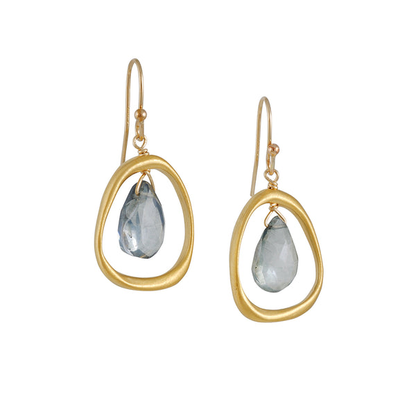 Philippa Roberts - Organic Circle Earrings with Green Quartz