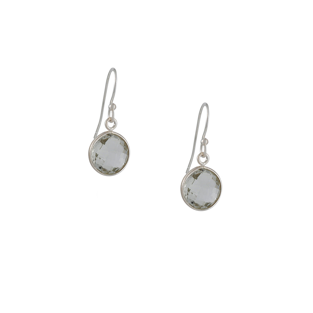 PHILIPPA ROBERTS - Faceted Green Amethyst Sterling Silver Drop Earrings