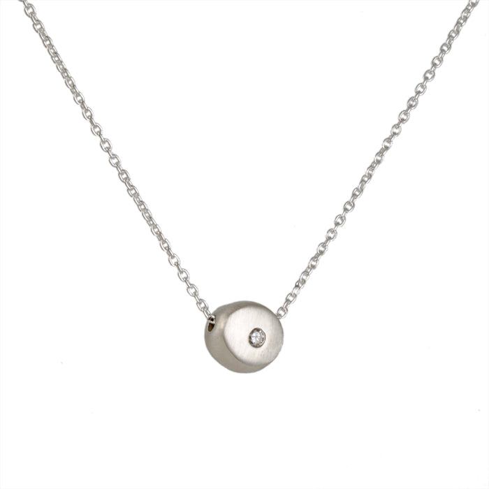 PHILIPPA ROBERTS -Tiny Nugget With Diamond Necklace in Sterling Silver, 16""
