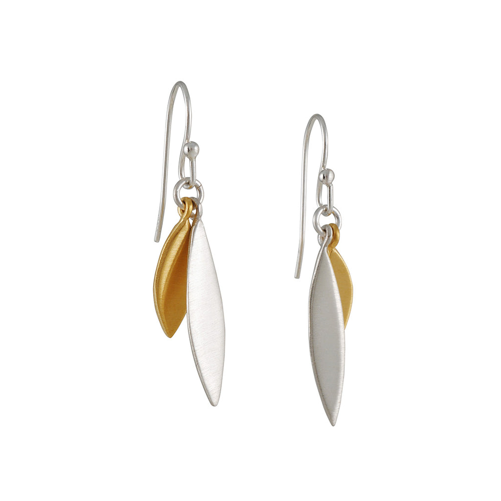 PHILIPPA ROBERTS - Double Petal Drop Earrings in Sterling Silver and Gold Vermeil