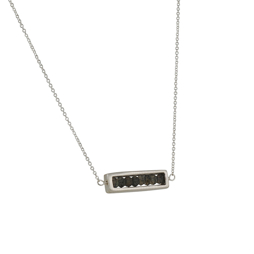 PHILIPPA ROBERTS - Horizontal Rectangle with Labradorite Necklace in Gold Vermeil