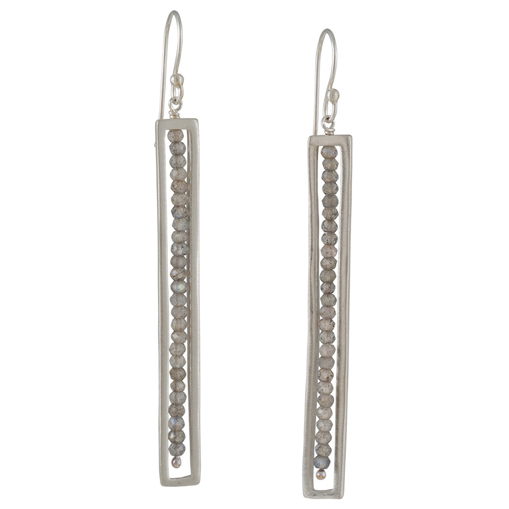 PHILIPPA ROBERTS - Long Rectangle Drop Earrings with Labradorite in Sterling Silver