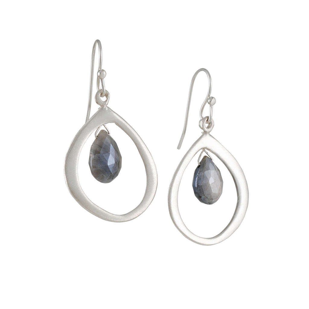 PHILIPPA ROBERTS - Organic Teardrop with Moonstone Earrings in Sterling Silver