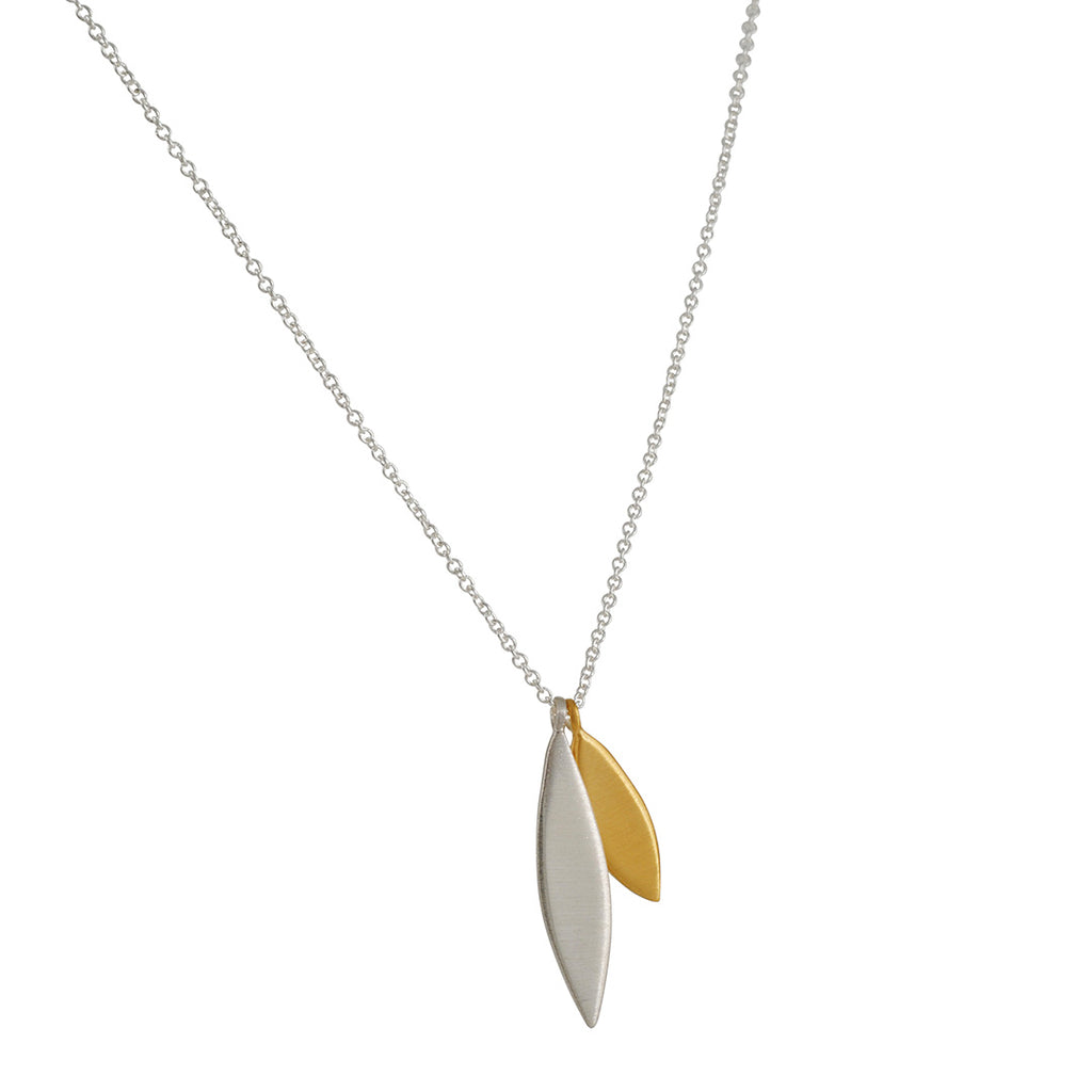 PHILIPPA ROBERTS - Two Petals Pendant Necklace in Sterling Silver and Gold Vermeil