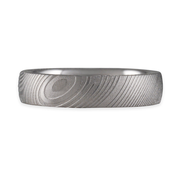 CHRIS PLOOF- Damascus Steel Wedding Band with Storm's Eye Pattern