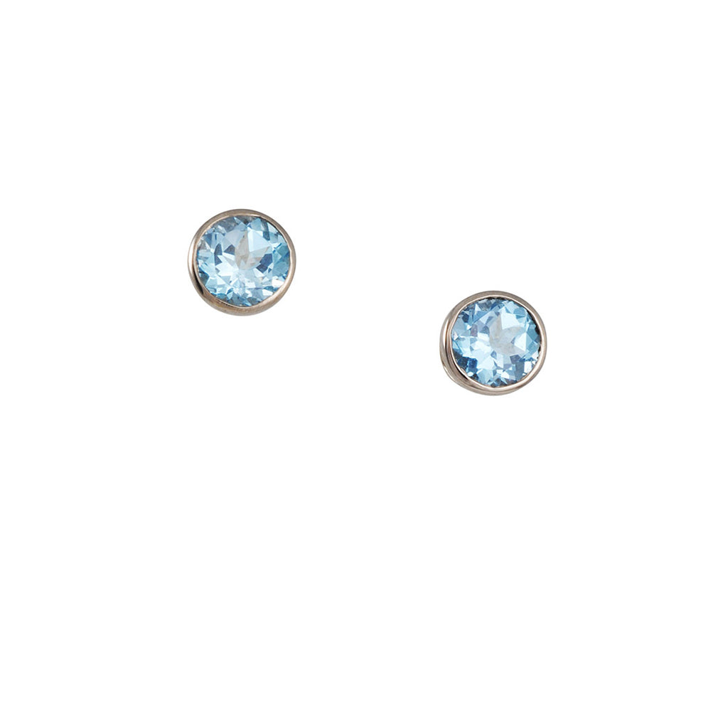 Ray Griffiths - 6mm Blue Topaz Stud Earrings