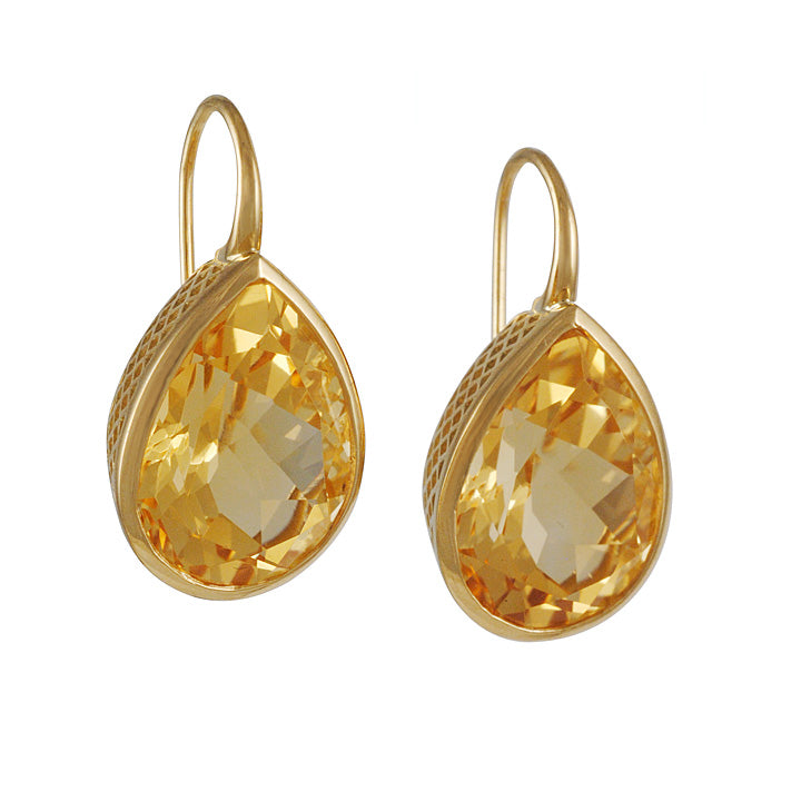 RAY GRIFFITHS - Citrine Drop Earrings with 18K Gold Crownwork
