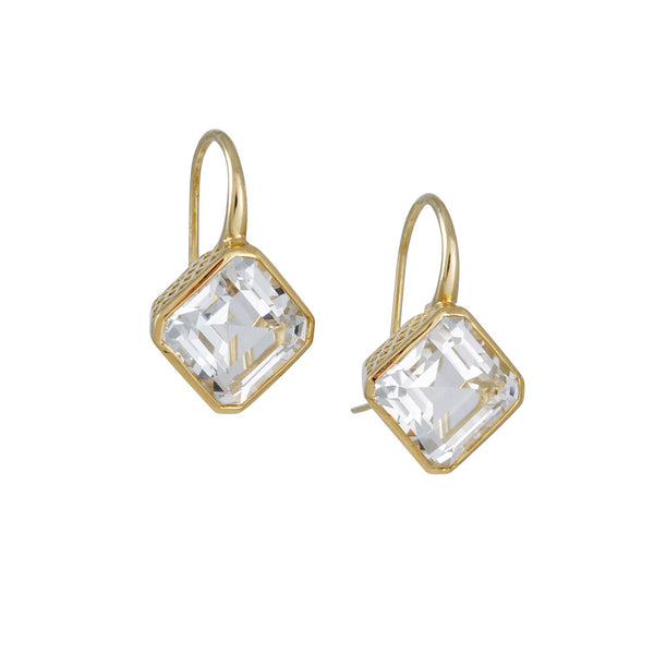 Ray Griffiths - Emerald Cut White Topaz Drop Earrings