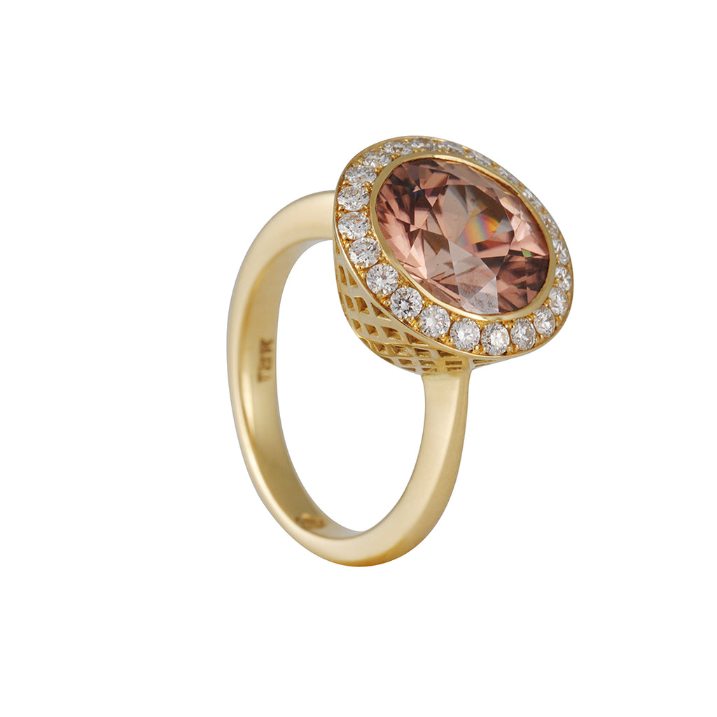 SALE  - Natural Zircon and Diamond Ring