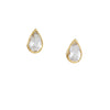 RAY GRIFFITHS - Pear Shaped White Topaz Post Earrings in 18K Gold