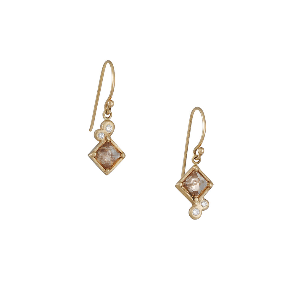 Rebecca Overmann - Champagne Diamond Checkerboard Earrings