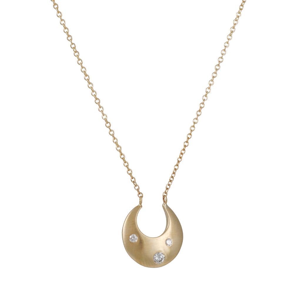 Rebecca Overmann - Hand Carved Crescent Necklace with Diamonds