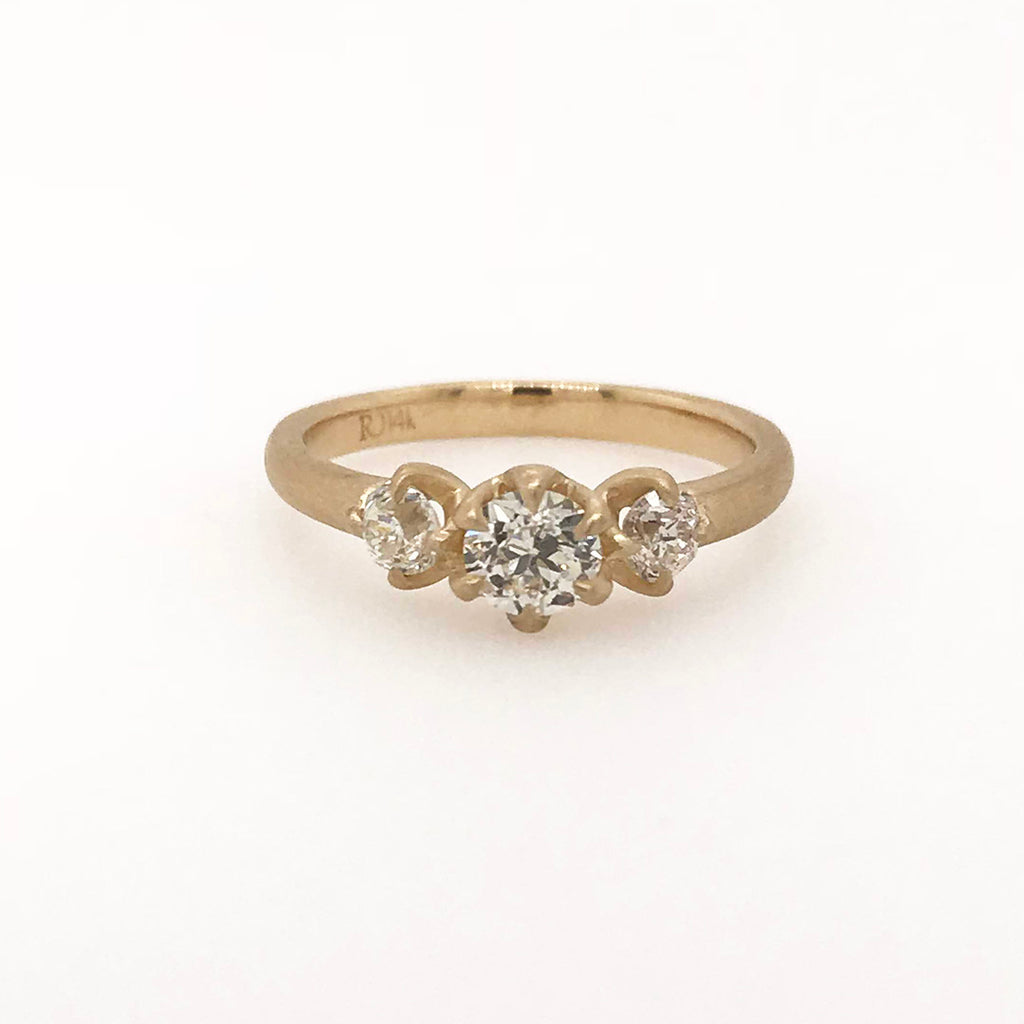 REBECCA OVERMANN-  Old Mine Cut Diamond Trio Engagement Ring in 14K Yellow Gold, Size 7