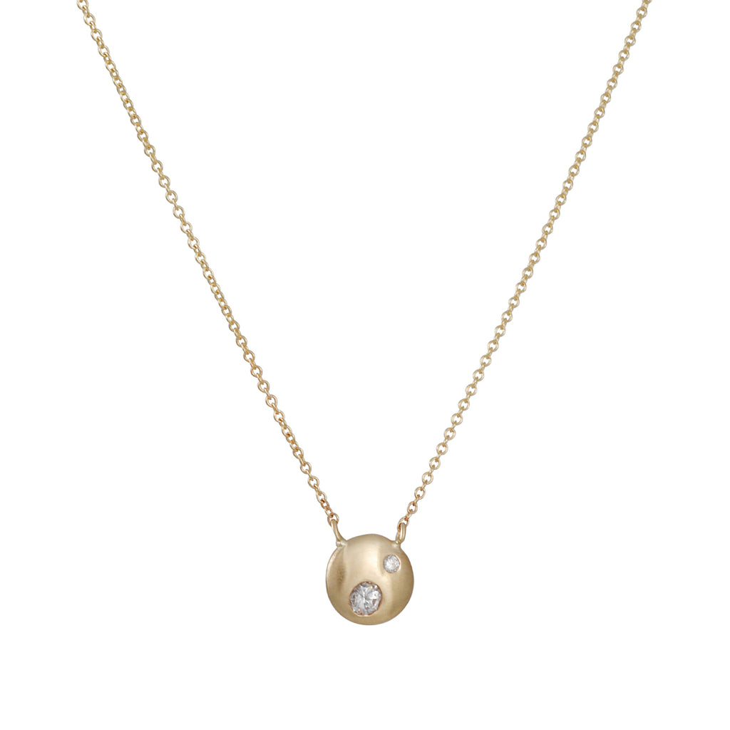REBECCA OVERMANN - Tiny Diamond Disc Necklace