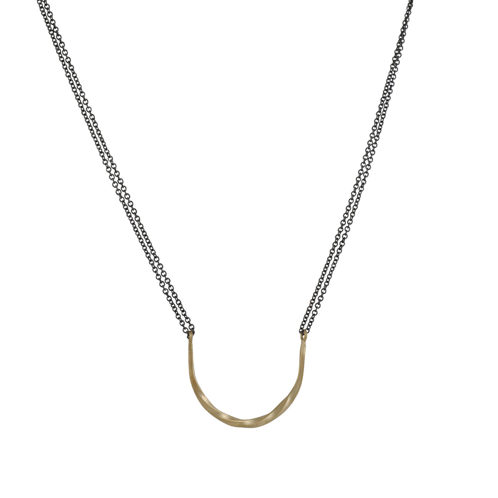 Sarah Mcguire - Bias Half Moon Necklace in 18k gold