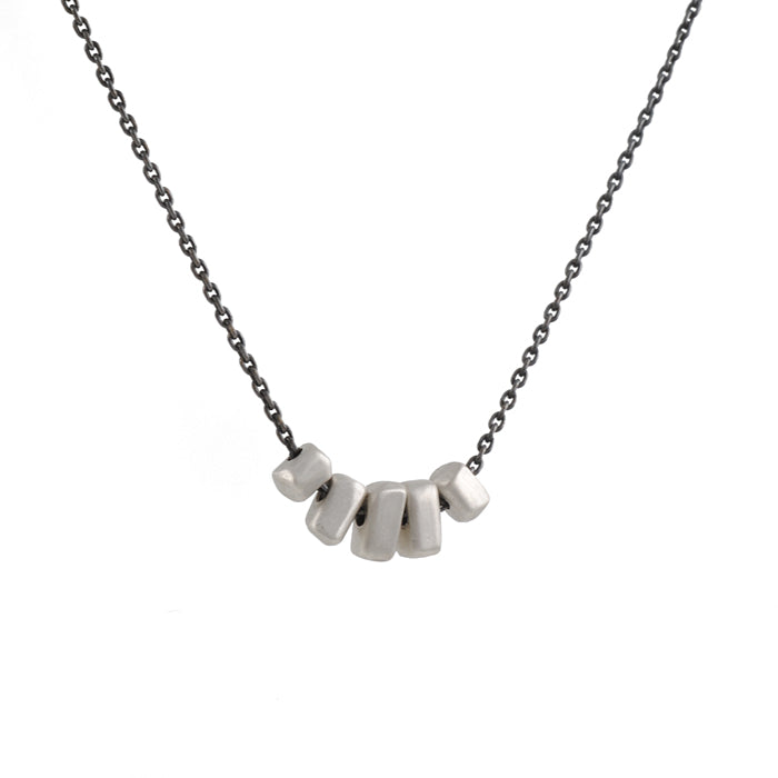 SARAH MCGUIRE- Five Nugget Necklace in Bright and Oxidized Sterling