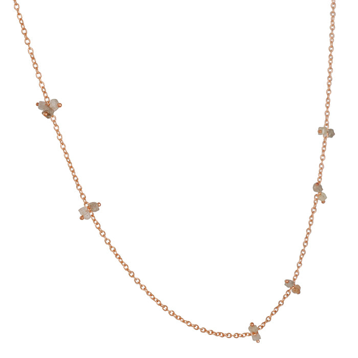 SARAH MCGUIRE- Grey Diamond Station Necklace in Rose Gold