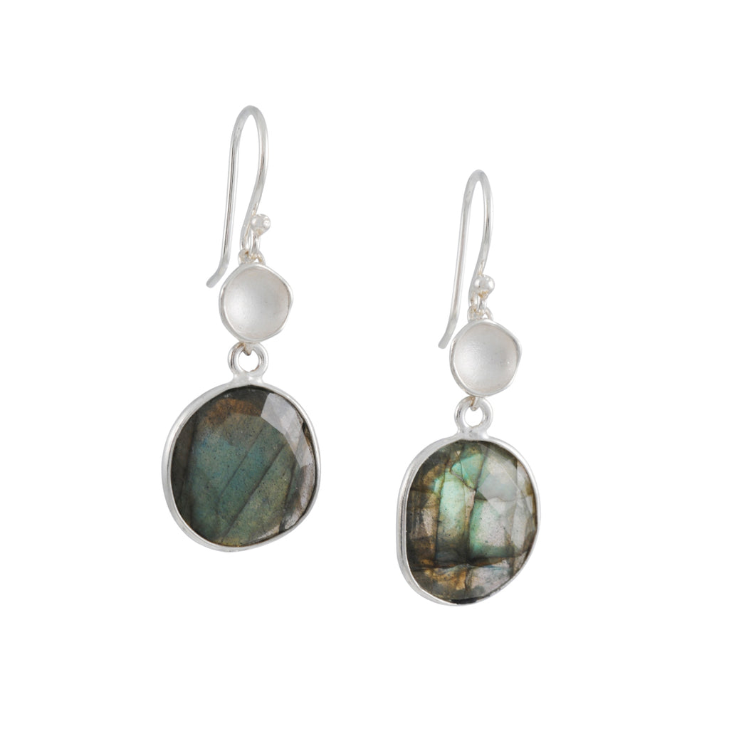 Sarah Richardson - Pod Bezel Dangle Earrings in Sterling Silver with Labradorite
