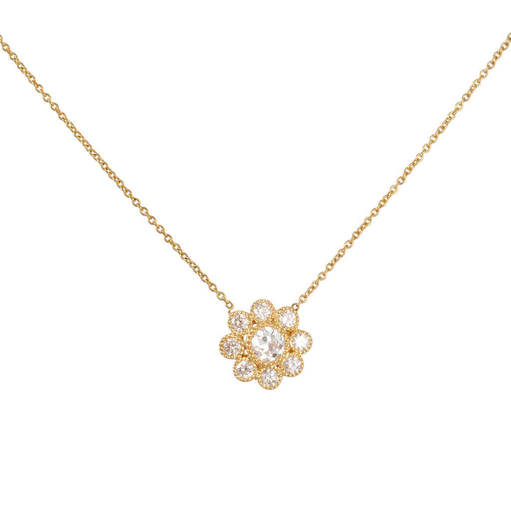 SETHI COUTURE - Flower Cluster Necklace in Yellow Gold