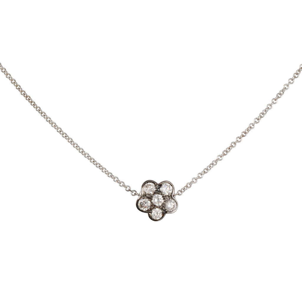 SETHI COUTURE - Six Stone Flower Necklace in White Gold