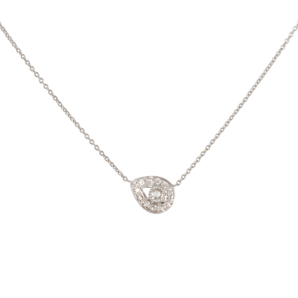 SETHI COUTURE - Asymmetrical Diamond Pear Necklace in White Gold