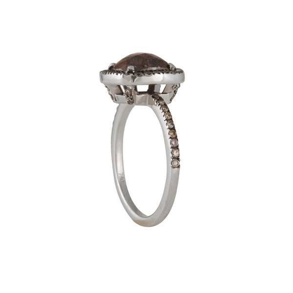SETHI COUTURE BRIDAL- Mahogany Diamond Solitaire with Halo